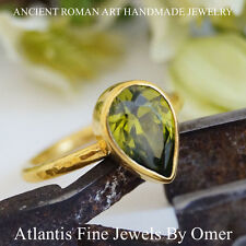 PEAR PERIDOT STACK RING  24K GOLD OVER STERLING SILVER HANDMADE BY OMER