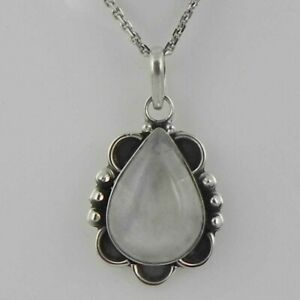 Solid 925 Sterling Silver Rainbow Moonstone Pendant Necklace Women PSV-2133