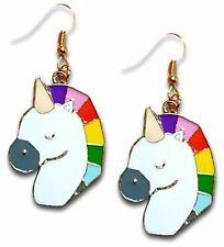 Enamel Rainbow Unicorn Horse Dangle Earrings by Pashal