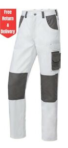 Mens White Work Trousers Knee Pad Pockets Painter Decorators Cargo Combat Pants