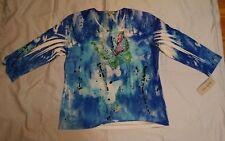 """Jess & Jane """"Royal Butterfly"""" Embellished Print Jersey Top 55-927 Large USA"""
