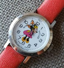 Vintage Bradley Walt Disney's Minnie Mouse Watch Swiss Made Red Band