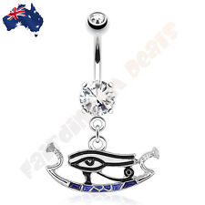 316L Surgical Steel Clear Jeweled Eye Of Horus Navel Dangle Belly Ring