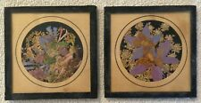 "2 Vintage Rocky Mountain Wild Flowers 4.5"" Glass Framed Hanging Plaque J.D. Mc."