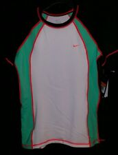 Nike Short Sleeve Rash Guard Women's Swim Shirt Surf Swimwear UPF 40 Sz Med