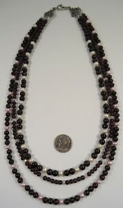 Lee Sands Wacky Friday 3 Str. Garnet w Pink/White Pearls & Swarovski Crystal NK