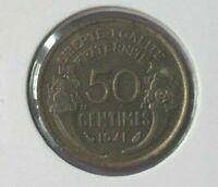 50 centimes morlon 1941 : FDC : pièce de monnaie française N175
