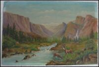 Vintage  Frank H. Haines YOSEMITE VALLEY California Oil Painting Landscape