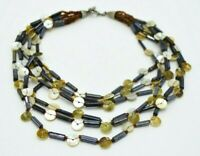 White Abalone Shell Button Black Bead Multi-Strand Necklace Vintage