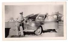 1940s Vintage snapshot 1940 Dodge Deluxe auto? mechanic uniform oil can