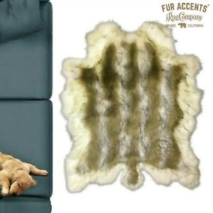 Faux Fur Deer Skin, Shag Bear Area Rug, Wolf, White Fox Fur Border, Suede Lining