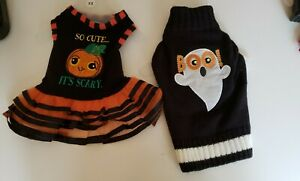 2 Dog Halloween Outfits Size XSmall Dress & Sweater