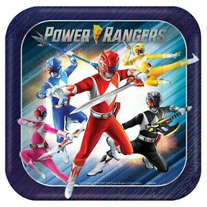 POWER RANGERS Classic LARGE SQUARE PAPER PLATES (8ct) ~ Birthday Party Supplies