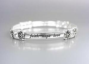 INSPIRATIONAL Silver FAITH HOPE LOVE Crystals Stretch Stackable Bracelet