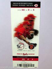 Homer Bailey No-Hitter 7/2/2013 Reds vs Giants UNUSED MINT Ticket Stub