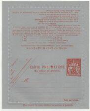 """FRANCE 1900's """"CARTE PNEUMATIQUE"""" 1fr60. TELEGRAPH LETTER CARD ORANGE ON GREY M."""