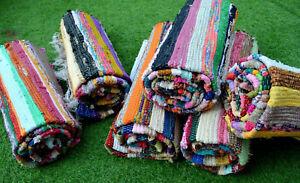 Indian Handmade Chindi Rag Rug Home Floor Decor Runner Cotton Yoga Mat 6'x3'