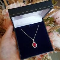 3 Ct Oval Pink Ruby & Diamond Pendant Necklace With Chain 14k White Gold Finish