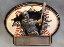 "Baseball home run trophy resin plate full color 7"" size"