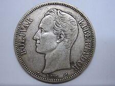 1904 Venezuela 5 Bolivares Libertador Silver