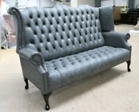 CHESTERFIELD GEORGIAN QUEEN WING SOFA VINTAGE DISTRESSED WAX ASH GREY LEATHER