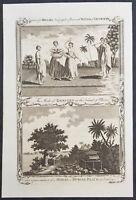 1782 Millar Antique Print of Burial Ritual in Tahiti & Dancing Girls of Raiatea