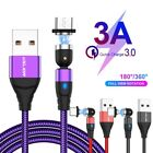 NEW 3 in 1 3A Magnetic Fast Charging Cable 540° Type-C Micro USB Phone cord
