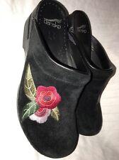 DANSKO SOPHIA CLOG Women Black Suede Embroidered Professional Shoe Sz 40/9.5-10M