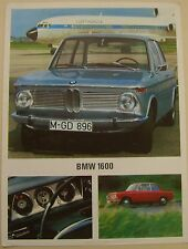 BMW 1600 Coupe 1967-68 Original UK Single Sheet Sales Brochure 02-Series 12205e