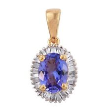 AA Tanzanite (OVL 1.00 ct), Diamond Ciondolo in 14K G O/Lay S/Argento 1.250 KT