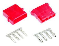 Red Male & Female 4 Pin Molex Connector With Pins for PC Computer Power Supply