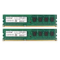 2X Crucial 4GB 2Rx8 PC3-12800U DDR3 1600MHz 240pin RAM DIMM Desktop Memory Intel