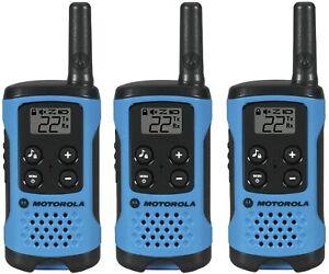 Motorola T100TP Talkabout Two-Way Radios Walkie Talkies Neon Blue - 3-pack