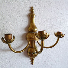 Vintage Solid Brass  3 Branch Wall  Sconce   Beautiful    Candle Holder