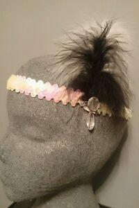 1920's FLAPPER /CHARLESTON HEAD DRESS. IRIDESCENT WHITE/PINK