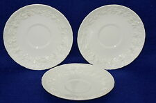 Wedgwood Embossed Queens Ware Cream Grape (3) Saucers,  6""