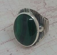 Authentic  Natural Malachite Edelstein Türkei 925 Sterling Silber Woman Ring
