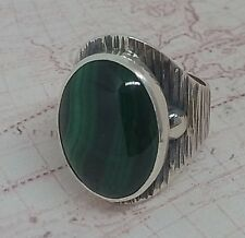 Authentic  Natural Malachite Gemstone Turkish 925 Sterling Silver Woman Ring