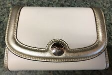 NWT COACH trifold wallet SV/White/Gold