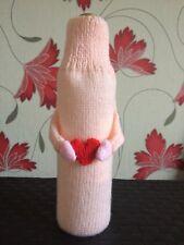 Engagement Gift Bottle bag gift bag Gift bag  peach Hand knitted  moveable hands
