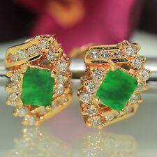18k Yellow gold natural Dark Imperial Jade Jadeite & VS-1 Diamond Stud earrings