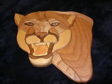 Don Vogt Wood Wall Carving Mountain Lion Puma Face Medium