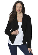 PLUS SIZE 1X, 16, Womens Black cropped suede leather JACKET COAT