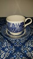 Churchill Blue Willow China England Flow Blue Tea Cup & Saucer