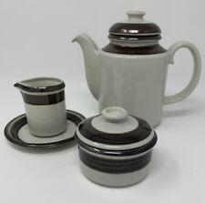 ARABIA Of FINLAND KARELIA Set Of 3 Coffee/Teapot Creamer/Saucer & Sugar Bowl/Lid