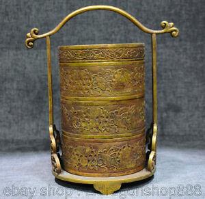 "10 ""cuivre chinois 24K or doré pin grue arbre cerf portable boîte alimentaire"