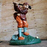 Vintage Cast Iron Golfer Door Stop Golfing Doorstop Man w Golf Club Gift