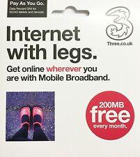 Three 3 Network Mobile Data iPad Tablet Ipad 3in1 SIM PAYG Card 200Mb FREE DATA