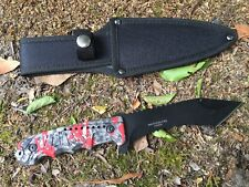 "9.5"" Hunt-Down Serrated Full-Tang Blade Hunting Knife  Red Zombie Handle 9259"