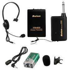Remote Wireless Microphone Headset Mic System FM Receiver Lavalier Clip NEW